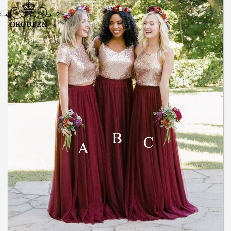 Bohemia Beach   Bridesmaid     Dresses   2019 Sequined Top and Tulle Skirt 3 Styles Cheap Long Maid Of Honor   Dress   Party For Women