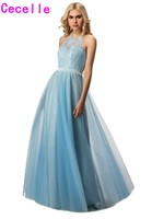 2017 Real A Line Blue Bridesmaid Dresses Long Halter Lace Top Tulle Skirt Formal Boho Outdoor