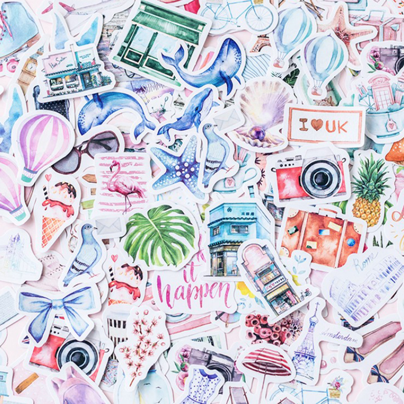 40 pcs Travel series beautiful sticker photo album Scrapbook paper decoration sticker diy Handmade gift card stickers Arts Craft(China)