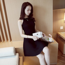 2016 New Arrival Summer Women's Clothing O-Neck Fashion Sleeveless Slim Sexy Brand Brief  Stretch A-Line Knitting Dress M-L