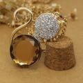 2017 catty  Gold plated Austran Crystal luxury rhinestones Cat Large Stone pendant necklace Fashion jewelry  jewelry 2007