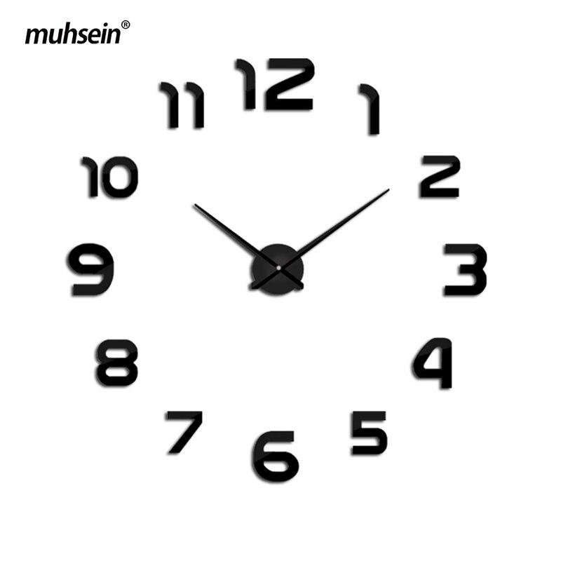 Clock Watches Horloge Murale Diy 3D Acrylic Mirror Sticker House Large Quartz Circular Needle Modern