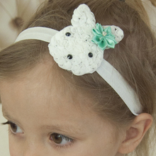 24PCS Cute Bunny Flowers headband Fancy Easter Headwear Boutique Easter Headbands Flower Hair bows Hair Accessories(China)