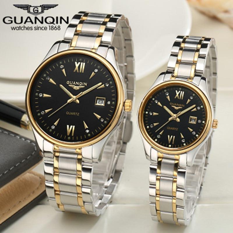 Haute qualité marque de luxe Guanqin montre saphir aime montres étanche Couples montre paire quartzwatch pour les Couples en amour