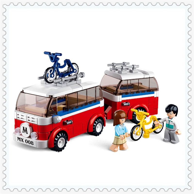 324Pcs Friends Series Tour Bus Model Building Block Toys SLUBAN 0566 Construction Figure Gift For Children Compatible Legoe битоков арт блок d 324
