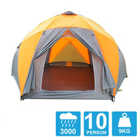 8 10 person high quality Windproof waterproof outdoors 3000mm hex tent Durable family camping gear party marquee tent