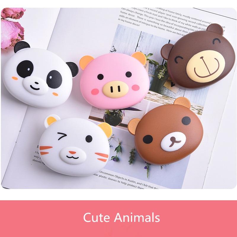 LIUSVENTINA Cute Cartoon Bear Panda Cat Pig Contact Lens Case Container With Mirror Box For Color Lenses
