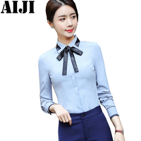 Spring Summer Womens Tops And Blouses Casual Bow Shirts Long Sleeve Office Women Blouse Elegant OL
