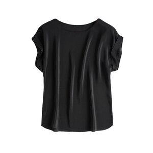 Image 4 - Женская футболка из натурального шелка, однотонная Свободная шифоновая футболка с коротким рукавом летучая мышь, базовый топ из 100% натурального шелка, лето 2019
