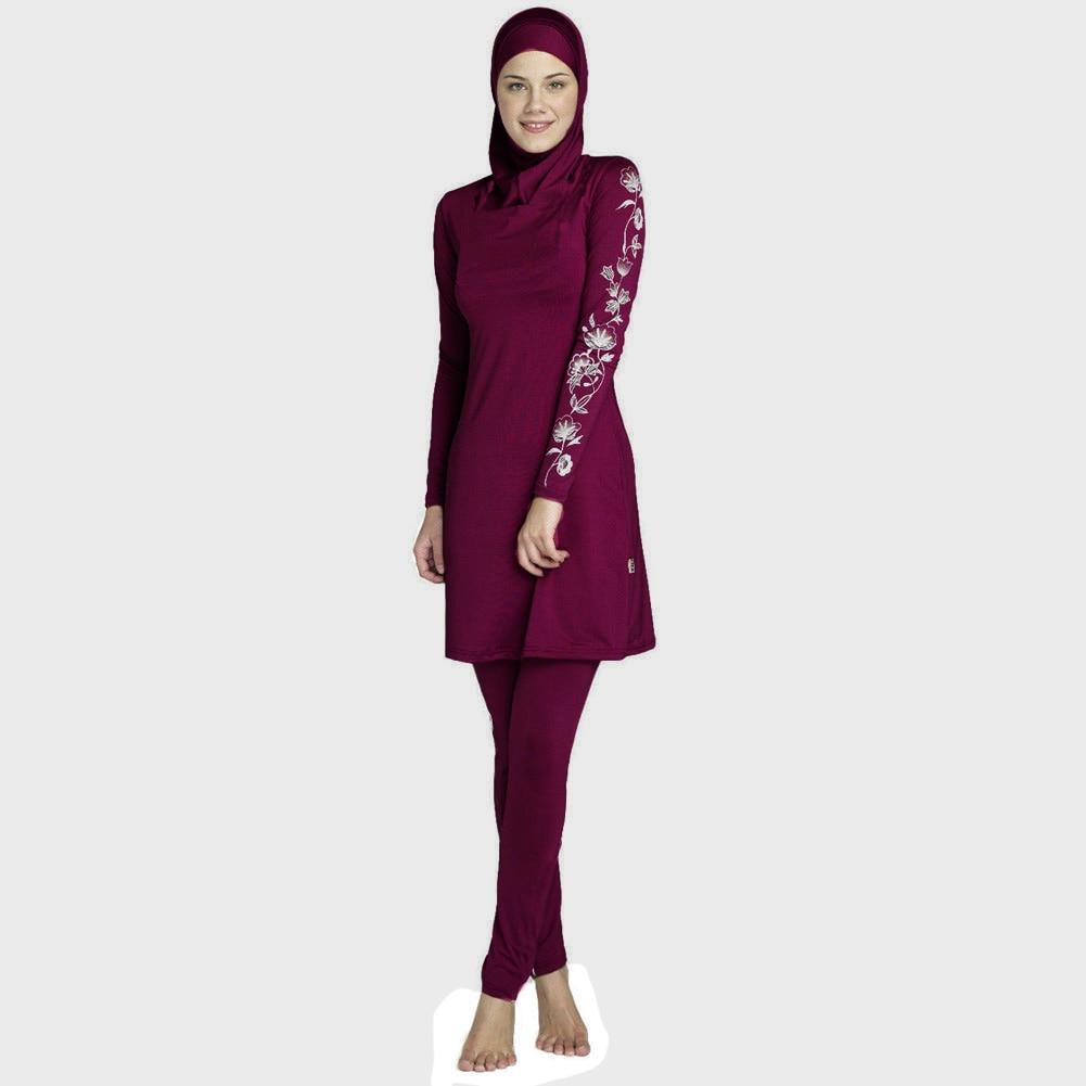 2019 Women Large Size  Printed Floral Full Cover Muslim Swimwear Women Islamic Conservative Swimsuit Hijab Beachwear Bathing Sui