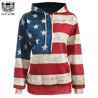 North America Fashion Women 3d Sweatshirt Print USA Flag Stars Stripped Hoody Hoodies With Cap Hooded Casual Long Pullovers Tops