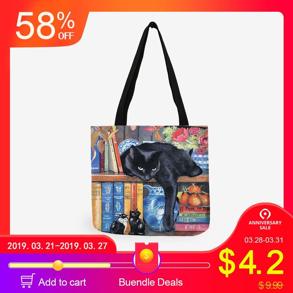 Pintura de aceite gato mujeres bolsas de bolsa de compras reutilizable bolsas de hombro para mujeres 2018 sac principal damas bolsos