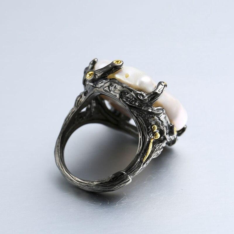925 argent sterling 26mm Baroque perle anneaux à la main vintage naturel Baroque anneaux pour les femmes Baroque perle bijoux cadeau de mariage-in Anneaux from Bijoux et Accessoires    3