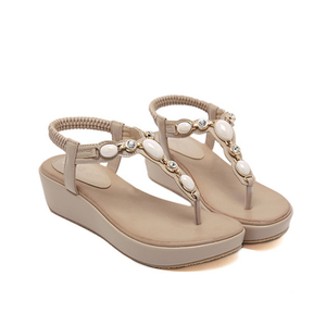 Image 5 - Beyarnetストラップ 2019 夏新女性サンダルボヘミアンビーズウェッジmedヒール大サイズ快適なサンダル女性のビーチShoesE612