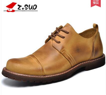 Zsuo latest popular men s low top shoes hot selling leather lace up round toe solid