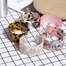 Bracelet en acrylique pour femmes, style Boho, léopard, résine, manchette ouverte, Vintage, bijoux, accessoire, bijoux