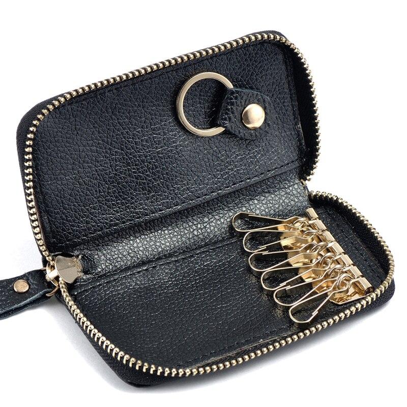 Fashion Vintage Genuine Leather Wallet Men Key Holder Housekeeper Keys Organizer Women Multifunction Covers Zipper Key Case Bag
