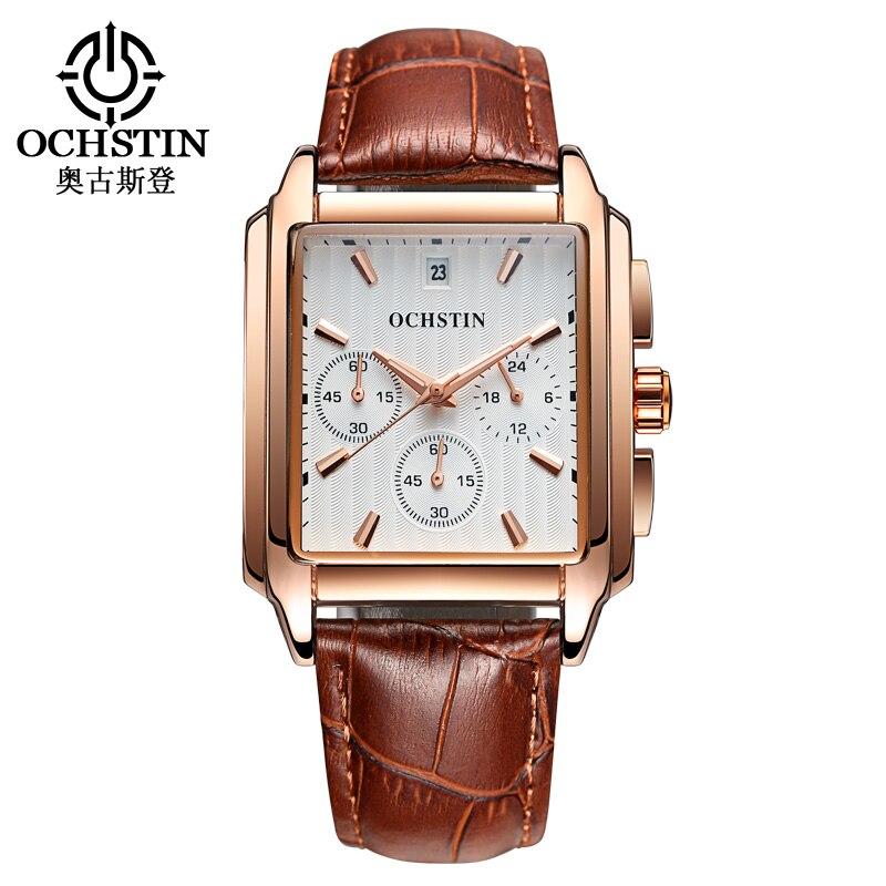 Montres militaires hommes bracelet en cuir ocre montres hommes Top marque montre à Quartz de luxe reloj hombre Relogio Masculino 2017