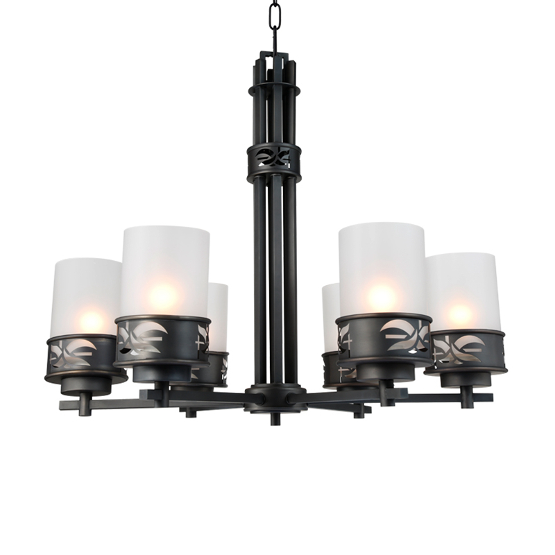 America systle 6 Arms copper LED chandelier light black color light with glass lampshade E27 lamp holder 7W led light by express