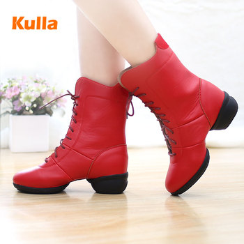 New Authentic Modern Dance Shoes Women's Soft Bottom Autumn and Winter Ladies Square Dancing Shoes Sailor Breathable Dance Boots