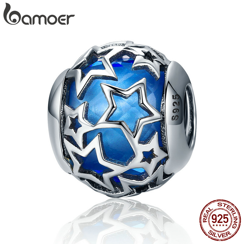 BAMOER 925 Sterling Silver Radiant Hearts, Moonlight Blue Crystal & Clear CZ Charms Fit Original Bracelet Jewelry Making PSC063