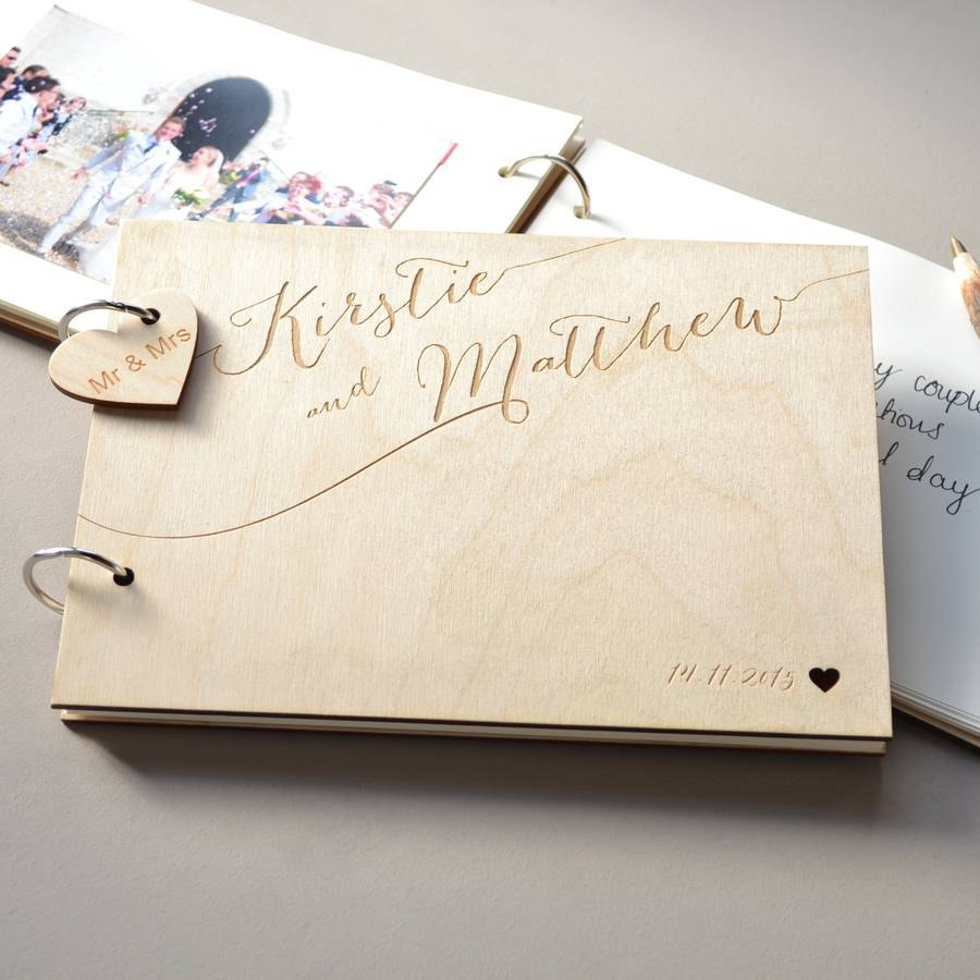 Wedding Guest Book Ideas Diy: Personalised Rustic Wooden Photo Album,Wedding Couples