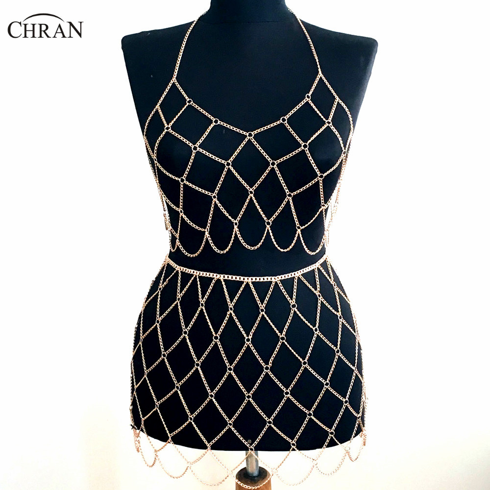 Chran Beach Chain Bra Skirt Harness Necklace Bikini Body Belly Waist Chainmail Bralette Dress EDM Wear Festival Jewelry CRBJ912