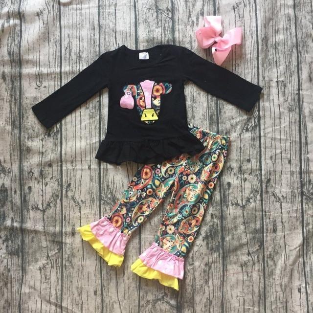 ใหม่ฤดูใบไม้ร่วง/ฤดูหนาวเด็กทารกเด็กสวมชุดผ้าฝ้ายวัวสีดำดอกไม้ผ้าไหม ruffle กางเกงบูติกเสื้อผ้าเด็ก mtach โบว์