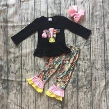 Nieuwe Herfst/winter baby meisjes kinderen dragen outfits katoen koe zwarte bloemen melk zijde ruche broek boutique kinderkleding mtach boog