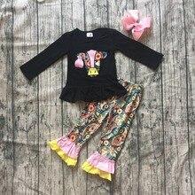 Nueva Otoño/Invierno, ropa para niñas, ropa para niños, ropa de algodón de vaca, negro, floral, leche, seda, volante, pantalón, ropa infantil de boutique, lazo mtach
