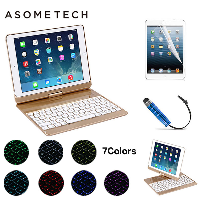 For 2017 new iPad 9.7 Air 1/2 pro 9.7 360 Degree Rotation Wireless Bluetooth Keyboard Case 7 Color LED Backlit light stand Cover