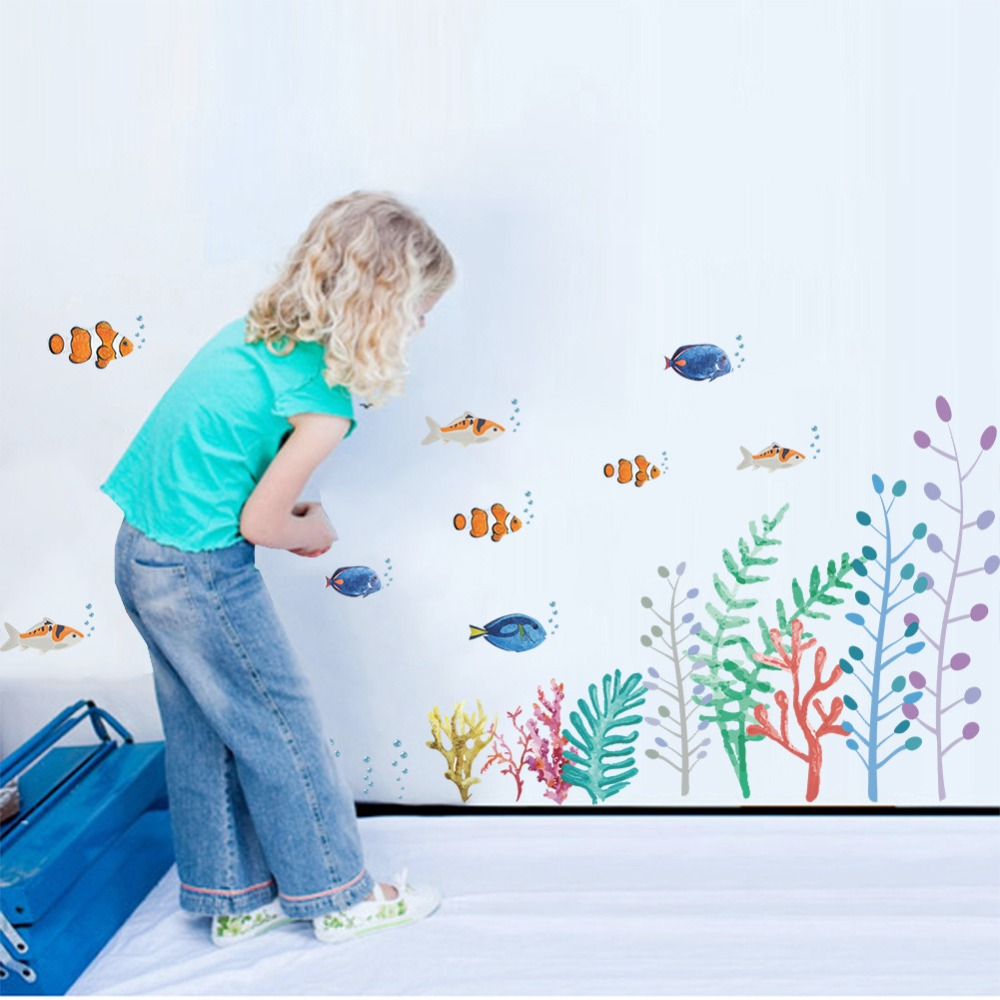 Colorful Rooms For Toddlers: Colorful Underwater Fish Plant Wall Stickers For Nursery