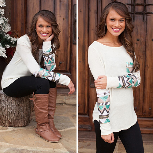 2016 font b Women s b font Fashion Autumn Winter Splicing Long Sleeve Crew Neck Pocket