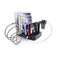 6 Port USB Ładowarka Stacja Dokująca Uchwyt Stojak Inteligentny moc Banku Ładowarka UE Wtyczką AMERYKAŃSKĄ Ładowarka Dostosować Się do Wszystkich smartfony