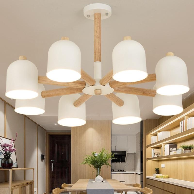 Wood Led Chandelier Lighting Kitchen Lights Lamp Bedside Hanging Branch Ceiling Lamps Bedroom Living Room