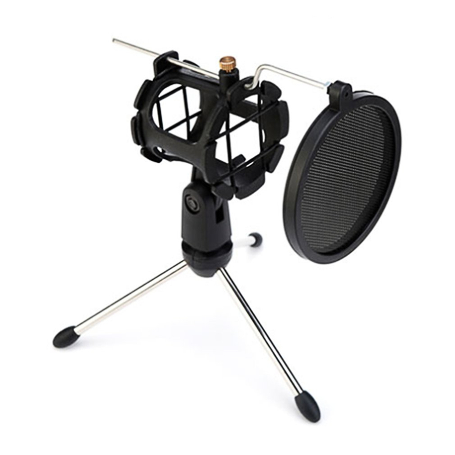 Microphone Tripod Stand Foldable with Shock Mount Mic Holder Clip and Pop Filter Desktop Microphone Bracket