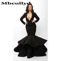 Mbcully Deep V neck Mermaid Prom Dress for Black Girls Luxury Satin Lace Long Sleeves Formal Evening Gala Gowns For Afrian Women
