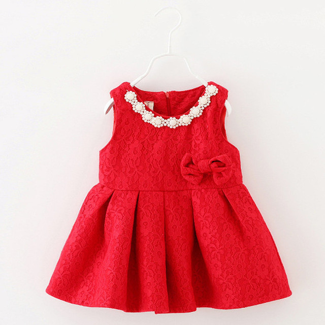 6M-2T baby girls Dress Bow Christmas Beaded infant autumn winter dress for birthday party sleeveless princess vestido infantil