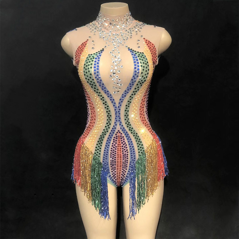 Women Tassel Mesh Colorful Rainbow Leotard Rhinestones Perspective Fringes Bodysuit Stage Outfit Wear Performance Dance Costumes