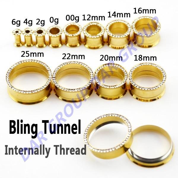 Dar Gold Plated Crystal Flesh Tunnel Plug Earring Gauges With Internally Thread