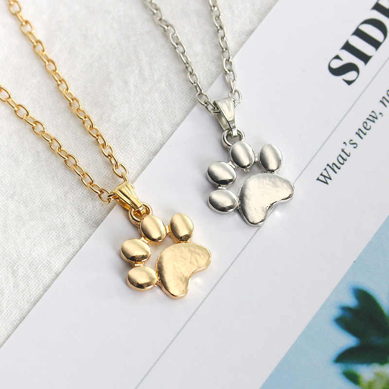 Trendy Lovely Dogs Kitten Cat Paw Claw Pendant Silver Gold Alloy Charms Cute Animal Feet Footprint Necklace Charm For Girls