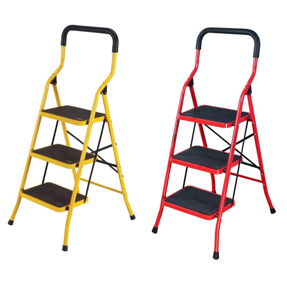 3 Steps Step Ladder NonSlip Domestic Household Office Foldable Steel Frame Safety Step Ladder Step Stools Ladder Chair DQTY03 цена