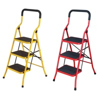 3 Steps Step Ladder NonSlip Domestic Household Office Foldable Steel Frame Safety Step Ladder Step Stools Ladder Chair DQTY03