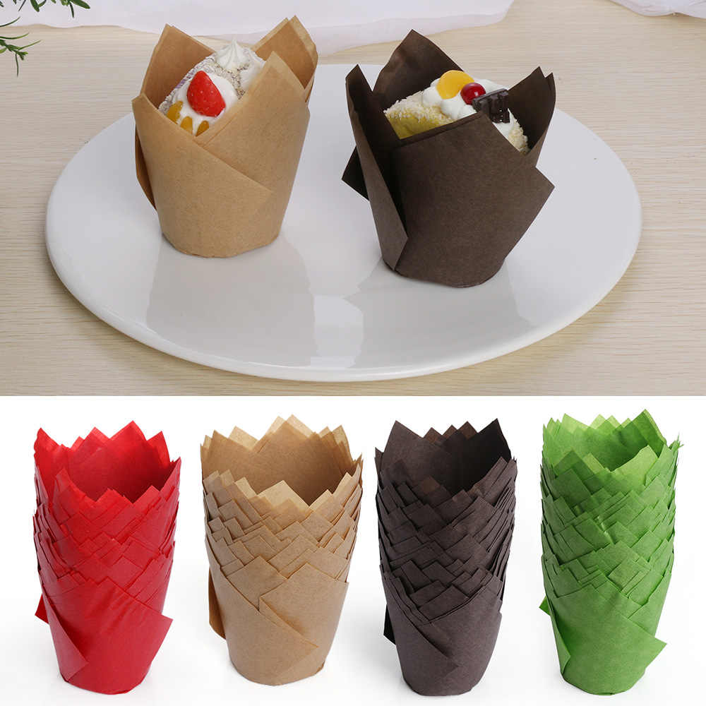50Pcs/pack Paper Cupcake Liner Mold Tulip Flower Chocolate Cupcake Wrapper Baking Muffin Liner Holder Wedding Party Accessories
