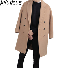 AYUNSUE New 2017 winter jacket men woolen coat Thick Long manteau homme Male Turn Dowan Collar Wool Coat Men Outwear LX773(China)