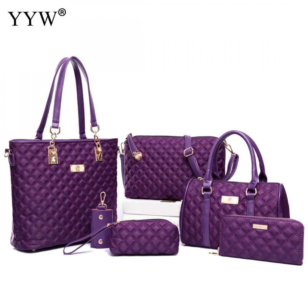 6 PCS/Set Purple Plaid PU Leather Handbags Women Bag Set Brands Tote Bag Lady's Shoulder Crossbody Bags Top-Handle Clutch Bag