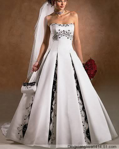 White Navy blue Plus size wedding dress floor length embroidery ...