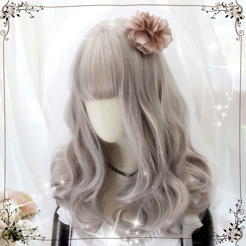 HSIU Harajuku Lolita wig Princess Women's girl's lady sweet Cute Lolita cosplay wig grey pink Vintage European NEW High quality