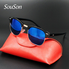 2017 Souson Brand designer Women Sunglasses Polarized SteamPunk Vintage Sunglass For Men Mirror Blue Lens 3016 With Box