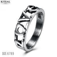 KITEAL aliexpress stainless steel engagement ring for women vintage black gold Valentine gift Love anillo oso bijoux women